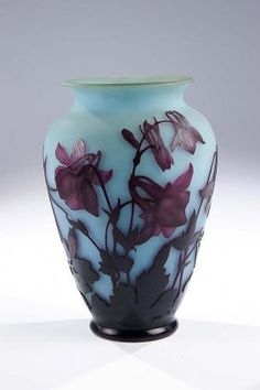 471: Vase Aquilegia Delatte Glass Art Deco Nouveau Old