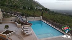 What a Beautiful view... that Slide looks AMAZING! Great job Landscape By Design. This one is being enjoyed in Utah #ResidentialWaterSlides #PoolSlide #WhatsInYourBackyard Water Slides, Pool Slides, Can Design, Utah, Swimming Pools, Backyard, Landscape, Amazing, Outdoor Decor