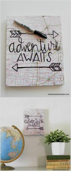 Hand Lettered Map Canvas Art (No Skills Required!) - Mod Podge Rocks This unique hand lettered canvas art can be customized with a variety of different papers, maps, or book pages to fit the space you are decorating! Canvas Letters, Map Canvas, Diy Canvas Art, Canvas Crafts, Canvas Projects Diy, Canvas Decor Diy, Unique Art Projects, Kids Canvas, Art Diy