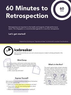 "Retrospectives are important to the health and longevity of high-performance teams. This infographic, adapted from SolutionsIQ consultant Tony Bonafonte's blog post ""Agendas and Ideas"", is a recommended agenda for a one-hour retrospective consisting of six 10-minute activity blocks."