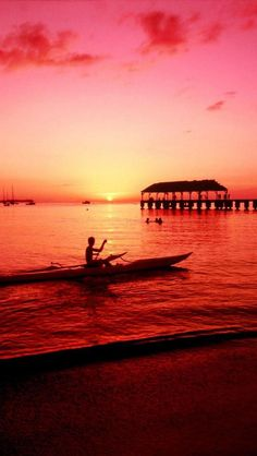 Sunset, Hanalei Kayaker, Kauai, Hawaii Islands, United States