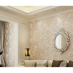 Floral Home Decoration Contemporary Wall Covering, Non-woven fabric Material Adhesive required Room Wallcovering Gold Wallpaper Living Room, Wallpaper Designs For Walls, 3d Wallpaper Home, Wallpaper Decor, Wallpaper Design For Bedroom, Damask Wallpaper, Ceiling Design Living Room, Home Room Design, Living Room Designs