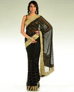 Black Sari with Heavy Border