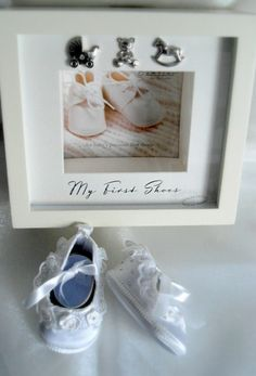My First shoes keepsake display box with first size satin baby slippers hand gemmed with swarovski gems