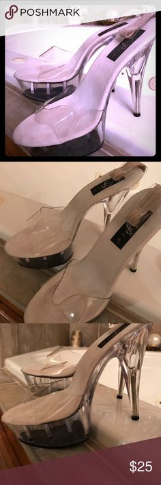 "Pleaser Heels Pleaser brand heels with ribbon (not shown) ties at heel. 4-5"" in height. Great condition. Come in black lint bags. Pleaser Shoes Platforms"
