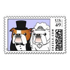 Bulldog Wedding Postage Stamp