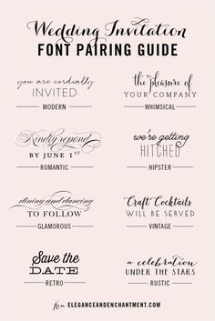 Wedding Invitation Font and Pairing Guide from Elegance and Enchantment // Great combinations of script and serif/sans serif typography for any style! fonts and calligraphy Wedding Invitation Font Pairing Guide Create Wedding Invitations, Wedding Invitation Fonts, Vintage Wedding Invitations, Rustic Invitations, Wedding Stationary, Typography Invitation, Party Invitations, Wedding Fonts Free, Invitation Ideas