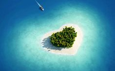 Aerial View Of Heart Shaped Tropical Island Ultra HD Desktop Background Wallpaper for UHD TV : Widescreen & UltraWide Desktop & Laptop : Tablet : Smartphone Tumblr Wallpaper, Love Wallpaper, Beach Wallpaper, Underwater Wallpaper, Tropical Wallpaper, Beautiful Wallpaper, Photo Saint Valentin, Love Images, Beautiful Pictures