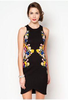 Embroidered Halter Midi Dress
