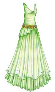 Halloween LOTR Costume Series #6: Goldberry's Green Gown with Gold Flag Lily Belt | Liana's Paper Dolls