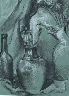 Talk about the depth that shows in many drawings, and how they are not merely outlines, but also have shading added. Explain that this describes two kinds of drawing: contour, and shaded.  Students will learn the classic method of drawing, on toned paper with charcoal or black pencil, heightened with white.