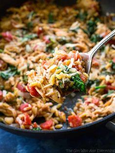 This One-Pan Chicken and Spinach Orzo is an easy weeknight dinner with chicken and spinach in a creamy tomato orzo. #healthy the-girl-who-ate-everything.com