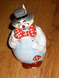 Reco Hobo Ditty Jar John McClelland 1986 Big Bow Red White Blue Hat Overalls #Reco #Clown