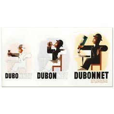 """Dubo Dubon Dubonnet"" Hand Pulled Lithograph by The re Society 