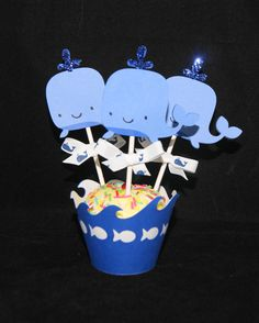 Whale Cupcake Toppers, Blue, Baby Shower, Boy, Nautical, Under the Sea--Set of 12. $6.99, via Etsy.