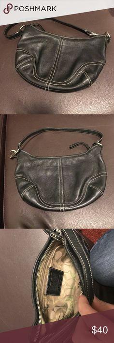 Coach small shoulder bag Black soft leather small cold shoulder bag with monogrammed inside Coach Bags Shoulder Bags