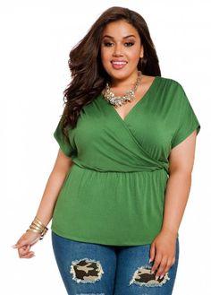 440394cf939 Amazon.com  Ashley Stewart Women s Plus Size Rhinestone Shoulder Top  Clothing  Plus Size
