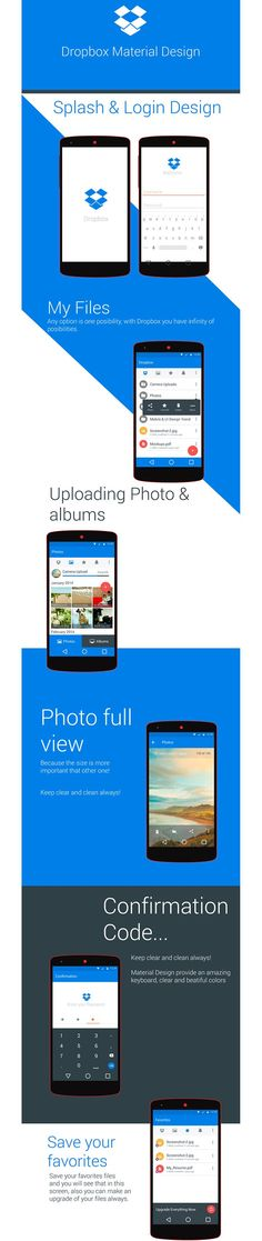 Dropbox Material Design 2014 redesign android lollipop smartphone listing files login
