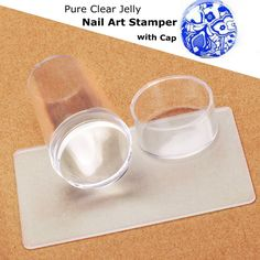 2017 New Design Pure Clear Jelly Silicone Nail Art Stamper Scraper with Cap Transparent 2.9cm Nail Stamp Stamping Tools