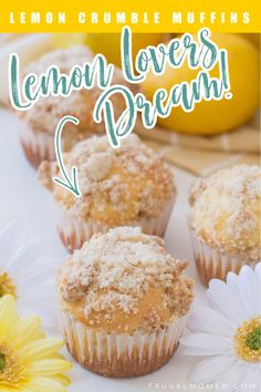 Lemon lovers will love these tangy lemon crumble muffins, a perfect addition to breakfast or mid-morning snack. These lemon muffins are bright, fresh, and so tender and moist with satisfying crunch from the streusel topping. Lemon Recipes, Baking Recipes, Real Food Recipes, Yummy Food, Delicious Recipes, Bread Recipes, Sweet Breakfast, Breakfast Ideas, Breakfast Recipes