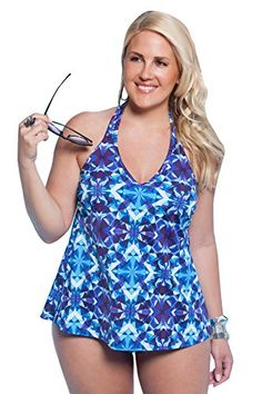 2e735123a83ba A kaleidoscope of blue adorns this 2 pc plus size swimsuit from Always For  Me. Suit up for your best summer ever in this figure flattering tankini.
