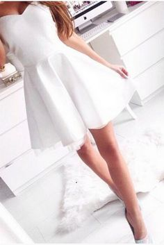 Prom Dresses For Teens, Strapless Sweetheart A Line White Satin Pleated Above Knee Simple Homecoming Dresses, Short prom dresses and high-low prom dresses are a flirty and fun prom dress option. Dresses Elegant, Satin Dresses, Pretty Dresses, Beautiful Dresses, Casual Dresses, Cotton Dresses, Formal Dresses, Simple Homecoming Dresses, White Bridesmaid Dresses