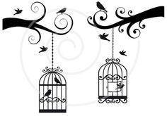 Cute birdcages with birds and ornaments digital clip por Illustree, $4.00