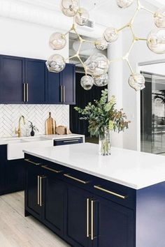 Chow Down - Homepolish's New Space Takes Offices To The Next Level - Photos Dark Blue Kitchen Cabinets, Blue Kitchen Ideas, Dark Cabinets White Backsplash, Kitchen Cabinets Design, Blue Kitchen Countertops, Modern Cabinets, Classic Kitchen Cabinets, Blue Kitchen Island, Marble Counters