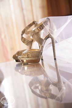 Metallic Weding Shoes by Jimmy Choo at a Las Vegas Wedding  Photo by Altf  |  Las Vegas Wedding Planner Andrea Eppolito Events