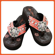Bling Bling Rhinestone Collection Flip Flops - Coral (10) - Sandals for women (*Amazon Partner-Link)