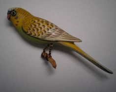 Vintage TAKAHASHI  PARAKEET  Hand Carved and Hand  Painted Wood  Signed