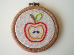Red Apple Embroidered Hoop Art  3 inch by HeyAbby on Etsy, $17.00