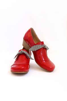Women's shoes Red patent leather wide heels handmade ADIKILAV Autumn