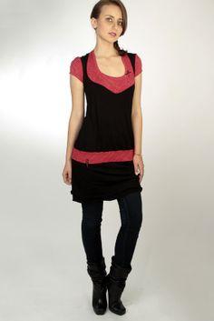 rotweiss gepunktetes jersey kleid  schwarz  von stadtkindpotsdam, $69,00