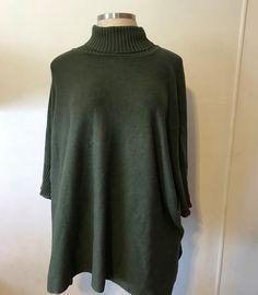 PERUVIAN CONNECTION Women Sweater Pima Cotton Green Dolman Sleeve Turtleneck XL #PeruvianConnection #Turtleneck #Peru #Tunic #Sweater #Green #ForestGreen #PimaCotton #XL #Women #DolmanSleeves #Dolman