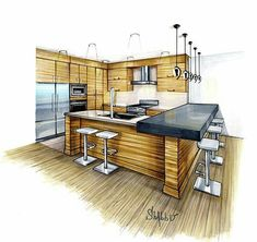 - Interior hand visualizations I created used copic markers and pen on special markers paper Interior Architecture Drawing, Interior Design Renderings, Architecture Concept Drawings, Drawing Interior, Interior Rendering, Interior Sketch, Architecture Design, Architecture Student, Classical Architecture