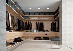 חדר ארונות שכולו מרחף, מתוכנן במבנה יחודי ובקו נקי. הבחירה של האדריכלים, המדפים והמגירות בגימור פורמיקה לבחירה בכל גוון נירלט / טמבור / רל לפרטים בקרו באתר.