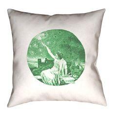 """Brayden Studio Enciso Vintage Goddess Throw Pillow Size: 26"""" x 26"""", Color: Green, Type: Pillow Cover"""