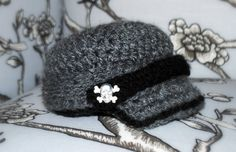 Omg I love! Size 3-6 months Punk Rock Grey and Black Brim Newsie Hat by MadeByMunchiesMama, $38.00