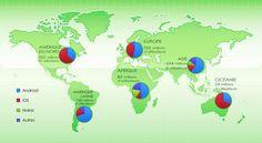 Marché mondial des OS mobile (Source gs.statcounter.com - 2014)