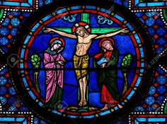 Stained Glass Window Depicting Jesus On The Cross In The Cathedral ...