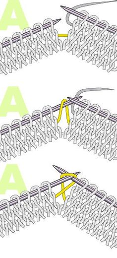 On the knit side m1L : make 1 left, (left slanted increase) . . With the left needle pick up the strand between 2 stitches, from front to back and knit through
