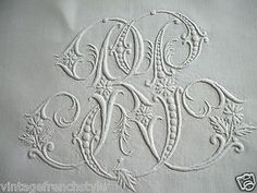 "Antique French ""Fil de Lin"" Linen Sheet Personalised Monogram French Linen 
