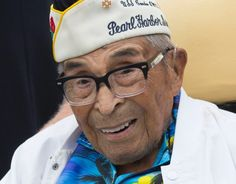 105-year-old World War II veteran Raymond Chavez, the oldest living survivor of the attack on Pearl Harbor, poses for a photo after the Memorial Day ceremony at the National World War II Memorial in Washington, D.C., May 29, 2017. (Joe Gromelski/Stars and Stripes)