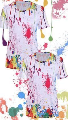 $11.02 Splatter Paint Tee Artist Birthday, Birthday Painting, Paint Splatter Shirt, Bubble Party, Paint Shirts, Mens Fashion Sweaters, Tie Dye Patterns, Art Party, Paintball