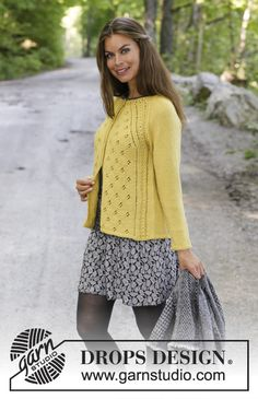 Canari jacket / DROPS – free knitting patterns by DROPS design – The Best Ideas Sweater Knitting Patterns, Cardigan Pattern, Jacket Pattern, Knitting Designs, Free Knitting, Knit Cardigan, Lace Patterns, Crochet Patterns, Drops Design