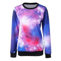 24.52$  Watch here - http://di6m6.justgood.pw/go.php?t=204232401 - Pullover Crew Neck Galaxy Print Sweatshirt 24.52$