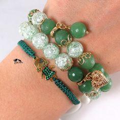 """Купить """"Девичья весна"""" Браслеты из натуральных камней. Зелёный, плетеный. - зеленый браслет, браслеты"""