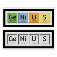GENIUS Periodic Table Chemical Element Cross Stitch Chart