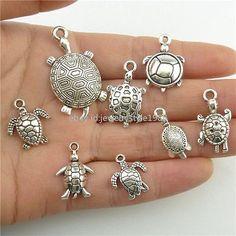 2set=16pcs Alloy Ocean Sea Turtle Tortoise Charms Pendant Jewelry Antique Silver